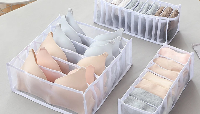 3-Pack of Mesh Underwear Drawer Organisers - 2 Colours
