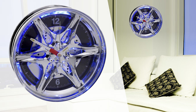 Novelty Neon Car Wheel Wall Clock Get Deals 4u UK