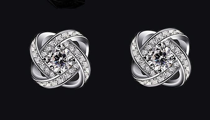 Sterling Silver Plated Simulated Crystal Knot Set Deal Price £ 9.99