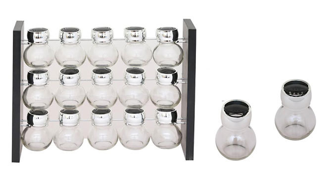 15Piece Glass Spice Jar Set with Standing Rack