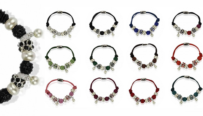 Beaded Charm Bracelet with Faux Pearls - 12 Colours