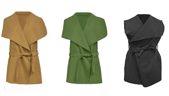 Get Lightweight  Waterfall Sleeveless Jacket - 3 Colours! from