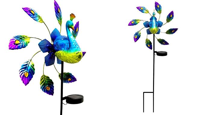Painted Iron Windmill Peacock Solar Light