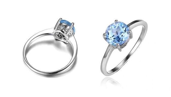 Compare prices for 1.6ct Blue Simulated Topaz Solitaire Ring - 4 Sizes