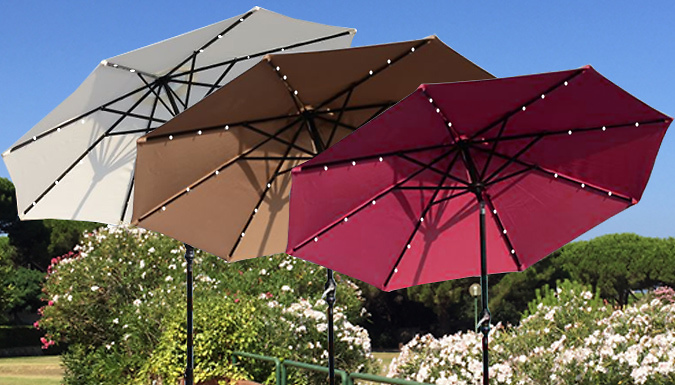 XL LED Solar Powered Parasol in 3 Colours - FREE Delivery!