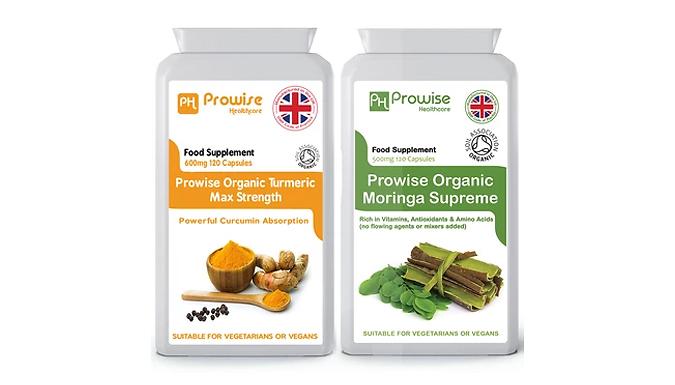 120 Organic Turmeric & 120 Organic Moringa Capsules from Prowise Healthcare Ltd