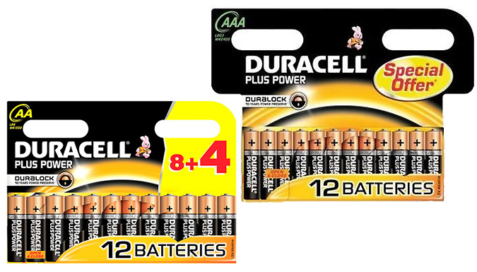 12 x Duracell Plus Power AA or AAA Batteries
