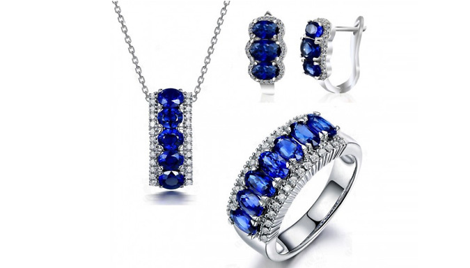 DDDeals - 10ct Lab-Created Blue Sapphire Jewelley 3-Piece Set