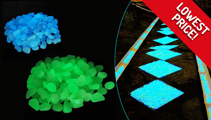 Image of 100, 200 or 300 Glow-In-The-Dark Garden Pebbles