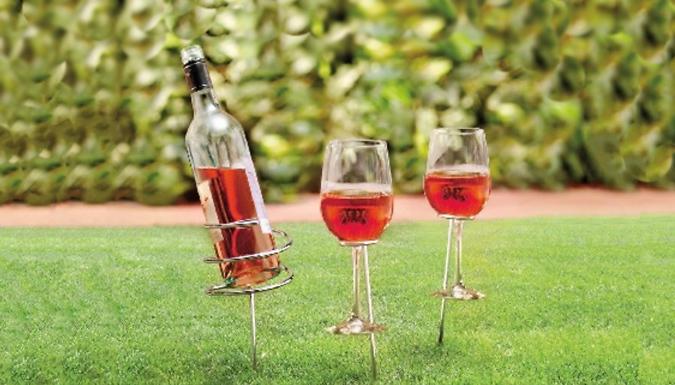 Wine Bottle and Glass Holder Set - 2 Options