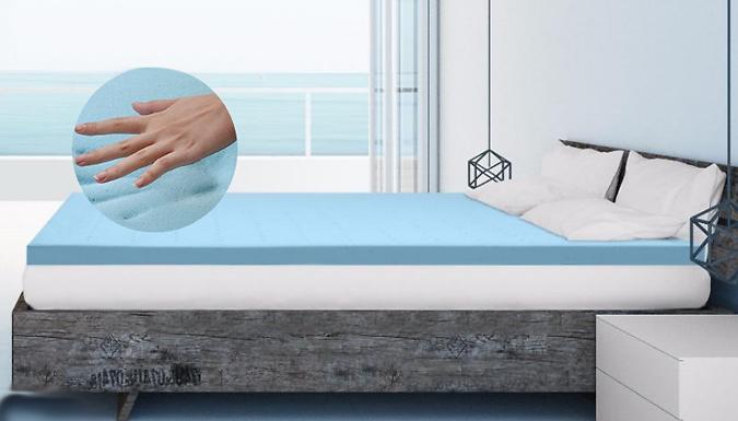 Cooling Memory Foam Mattress Topper + Free Memory Pillows