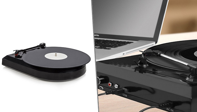 Vinyl to MP3 Converter  Black USB Turntable with Integrated Speakers