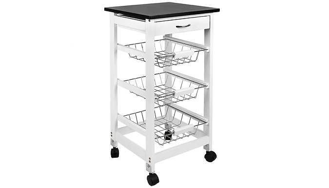 3 or 4 Tier Wooden Kitchen Trolley from GoGroopie