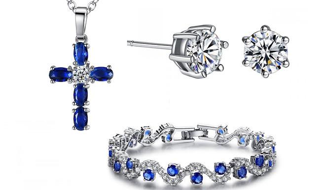 Swarovski Blue Sapphire Pendant, Bracelet & Earring Set