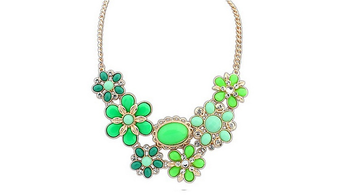 Flower Necklace With Swarovski Elements - 4 Colours
