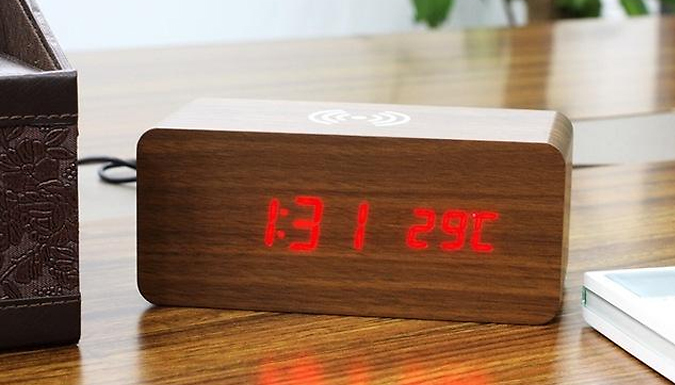 2-in-1 Wooden LED Alarm Clock & Wireless Phone Charger - 4 Colours