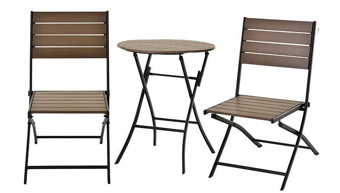 Outsunny Wood Effect Bistro Table & Chairs Set