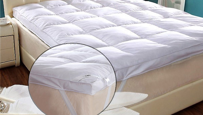 Save on Thick Goose Feather and Down Mattress Topper - 3 Sizes from Go Groopie
