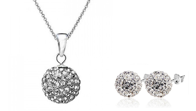 925 Silver-Plated Crystal Ball Set