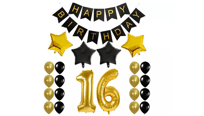 Gold & Black Birthday Decoration Set with Numbered Balloon - 9 Options