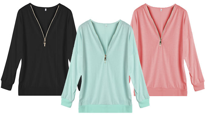Compare retail prices of Zip-Front Jumper - 3 Colours to get the best deal online