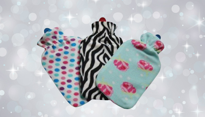 Hot Water Bottle with Fleece Cover  3 Styles