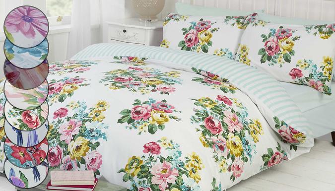 Reversible Spring Floral Duvet Sets  3 Sizes 8 Designs