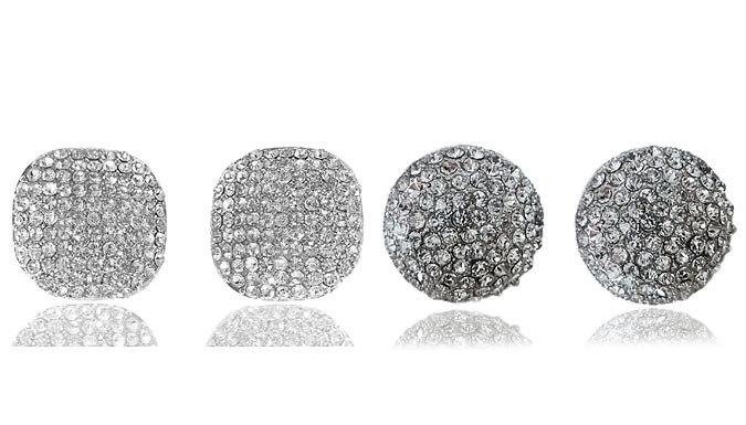18K White Gold-Plated Swarovski Elements Stud Earrings - 2 Designs