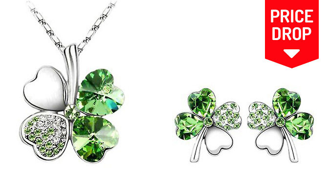 Four-Leaf Clover Necklace & Earrings - 5 Colours!