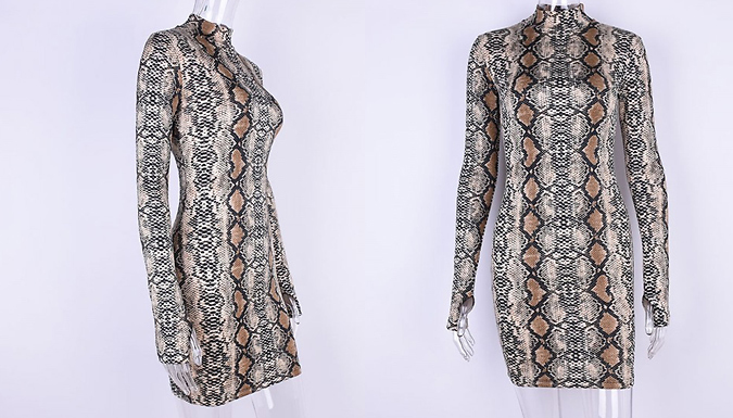 Snakeskin Print Bodycon Dress- 3 Sizes