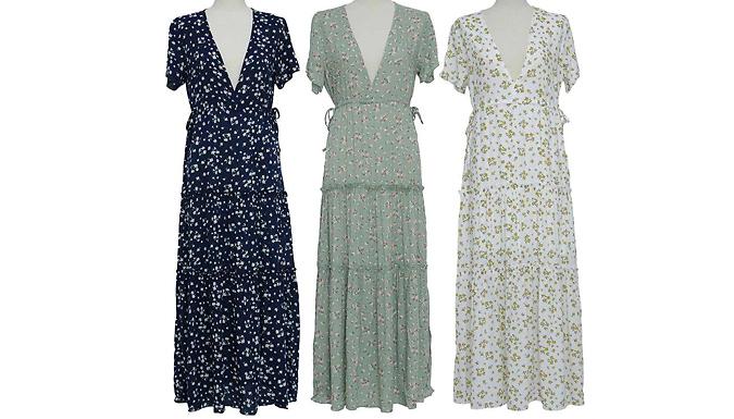 V-Neck Casual Floral Maxi Dress - 3 Colours & 4 Sizes