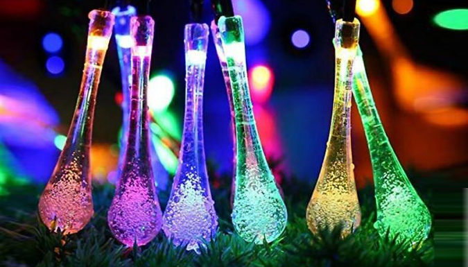5m Solar-Powered Water Drop String Lights - 3 Colours