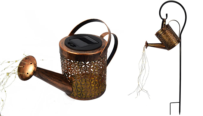 Hanging Solar-Powered Sprinkle Light Watering Can - Optional Bracket from GoGroopie