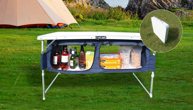 Airwave Folding Camping Table With Storage