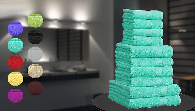 Save on 10-Piece Egyptian Cotton Towels - 10 Colours from Go Groopie