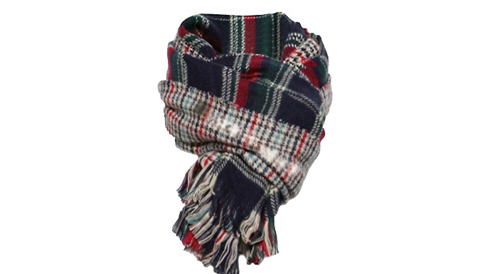 Get Oversized Tartan Scarf from
