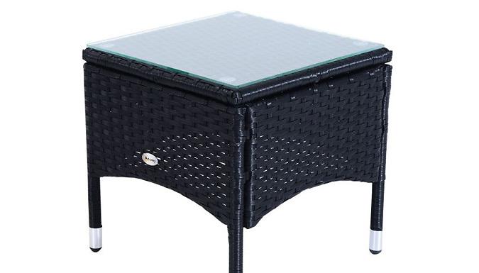 3-Piece Waterproof Rattan Reclining Sun Lounger & Table Set - 3 Colours