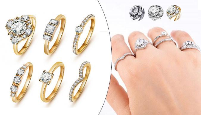 6-Piece Austrian Crystal Ring Set - 3 Colours