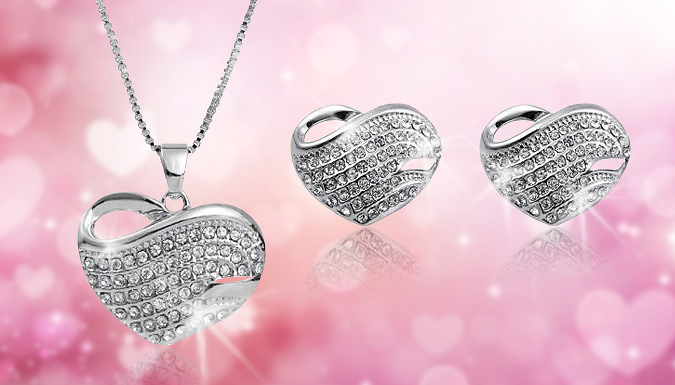 Valentine Crystal Heart Duo Set