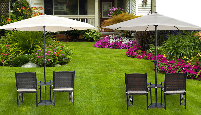 Rattan Garden Love Seat With Parasol  2 Colours