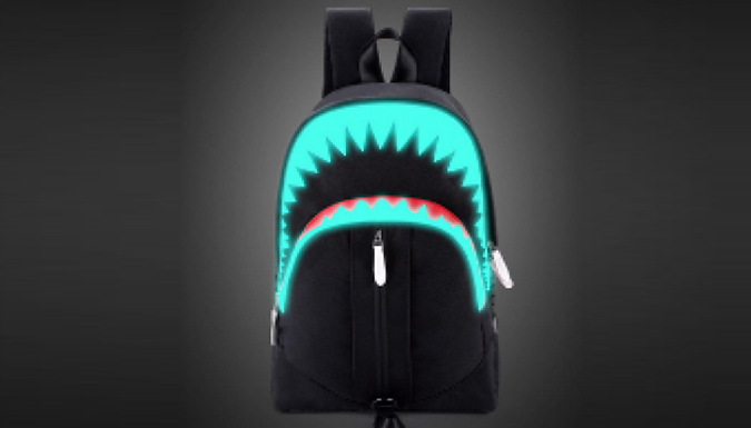 86187c3d053a Glow-in-the-Dark Shark Backpack With USB Charging from Go Groopie