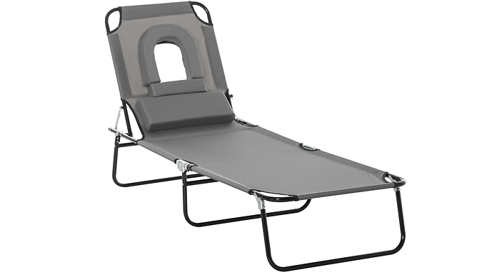 Outsunny Folding Reclining Sun Lounger With Neck Support