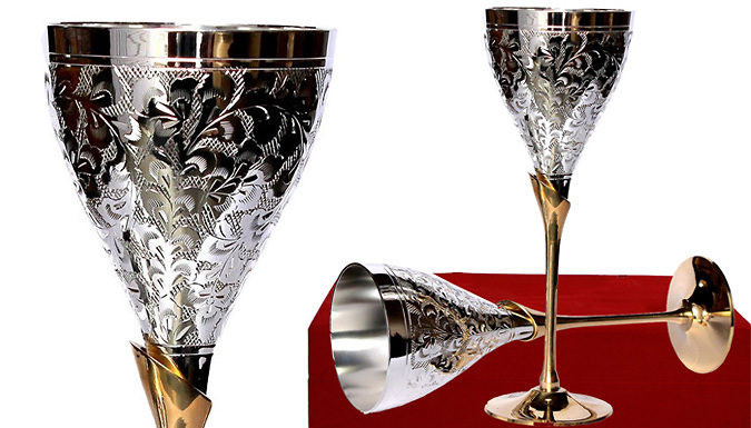 German Silver Wine Goblets Glasses  Set of 2