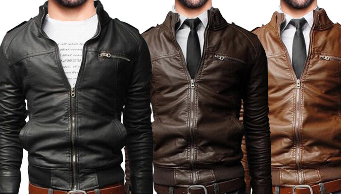 Faux Leather Bomber Jacket  3 Colours 4 Sizes