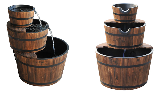 Outsunny Wooden Water Pump Fountains - 1, 2,or 3-Tier