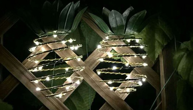 Set of 2 Solar Hanging Pineapple 25-LED Lights