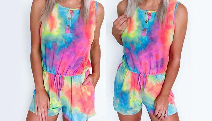 Rainbow Tie-Dye Playsuit - 5 Sizes