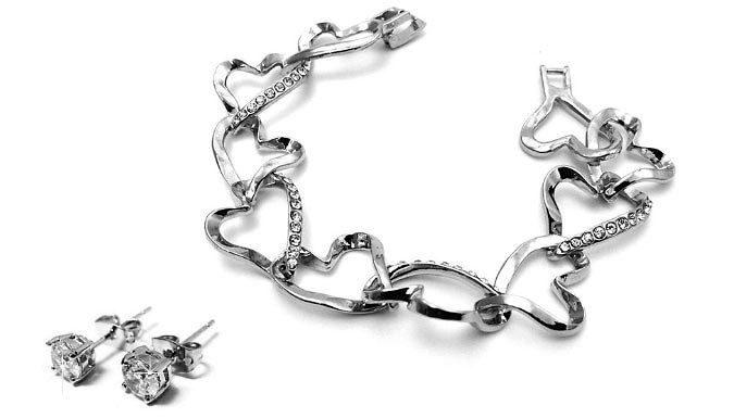 18K White Gold Plated Heart Set with Earrings and Bangle