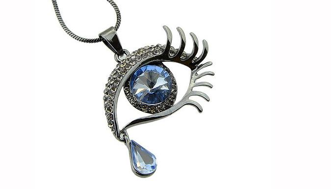 Blue Crystal Teardrop Necklace