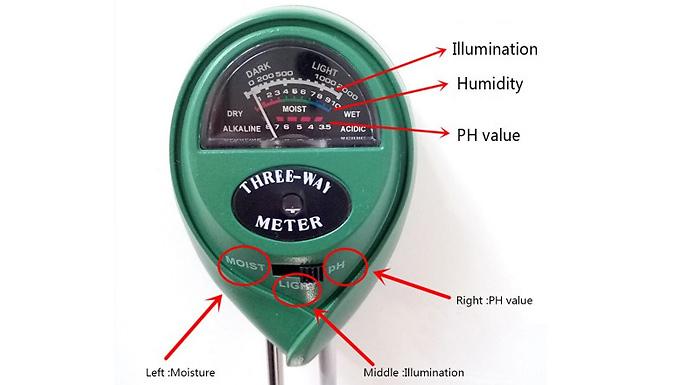 3-in-1 pH Tester Moisture Light Test Meter Kit